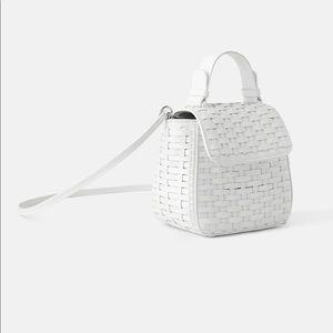 White woven crossbody bag